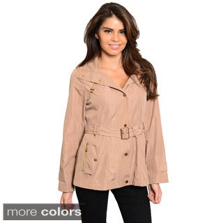 Shop The Trends Women's Long Sleeve Button Down Jacket With Drawstring Hoodie And Buckled Waist Belt