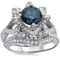 Noori 14k White Gold 1 3/4ctw Blue Round Diamond Lotus Flower Engagement Ring Bridal Ring Set (SI1-SI2)