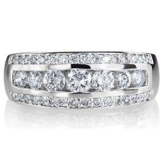 SummerRose 14k White Gold 1ct TDW 3-row Diamond Ring (G-H, SI1-SI2)