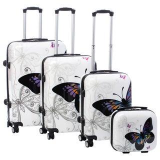 World Traveler Butterfly 4-piece Hardside Spinner Luggage Set with TSA Lock