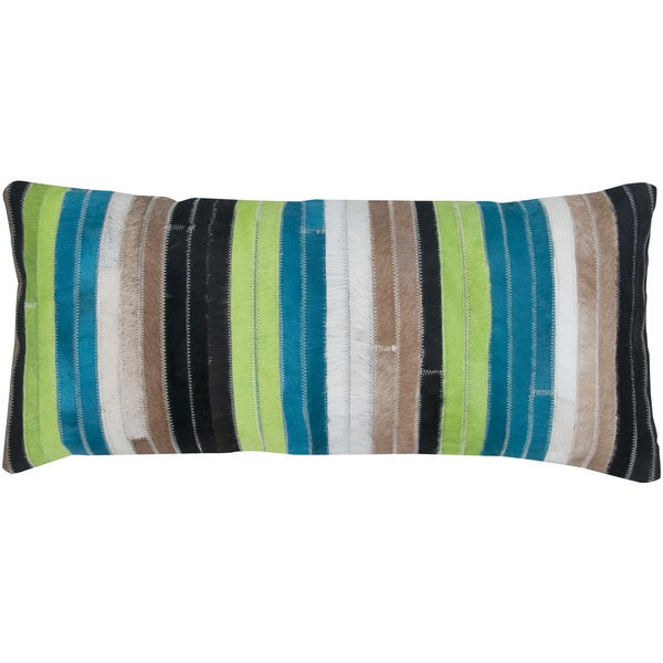 Blue And Green Striped Throw Pillows : Blue/ Green Stripe Leather Feather-filled Throw Pillow - Overstock Shopping - Great Deals on ...