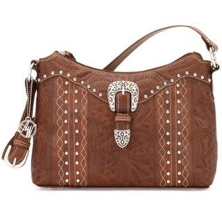 American West Antique Brown Zip top Shoulder Bag