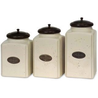3-piece Ivory Ceramic Canister Set
