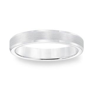 Cambridge White Tungsten Carbide Beveled Edge Comfort Fit Ring