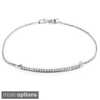 Sterling Essentials Silver Cubic Zirconia Bar Chain Bracelet