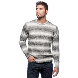 Cullen Men's Salt/ Pepper Striped Space-dyed Crew-neck Sweater