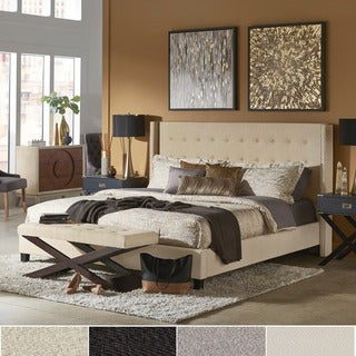 INSPIRE Q Marion Dark Grey Linen Nailhead Wingback Tufted Upholstered Bed