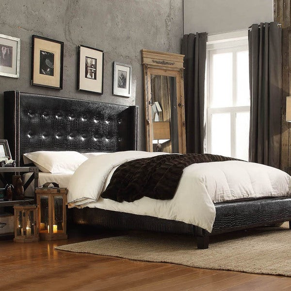 black leather bed queen size tufted wingback headboard faux alligator nailhead ebay. Black Bedroom Furniture Sets. Home Design Ideas