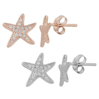 Fremada Gold Over Sterling Silver and Cubic Zirconia Starfish Post Earrings