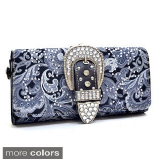 Montana West Rhinestone Studded Buckle Tri-fold Paisley Wallet