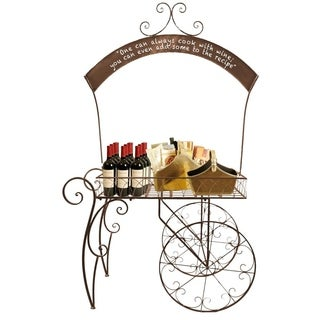 Rolling Metal Display Cart with Chalkboard Arch