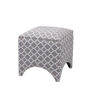 Madison Park Rileigh Quatrefoil Fretwork Pattern Ottoman