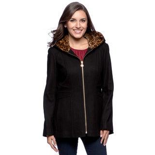 Anne Klein Women's Wool Blend Leopard-lined Jacket