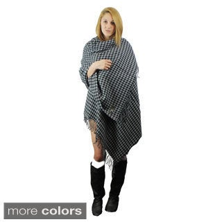 Le Nom Houndstooth Woven Wrap & Shawl