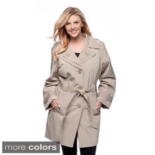London Fog Women's Plus Size Single-breasted Double Collar Raincoat