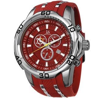 Joshua & Sons Men's Bold Swiss Quartz Chronograph Date Silicone Strap Watch