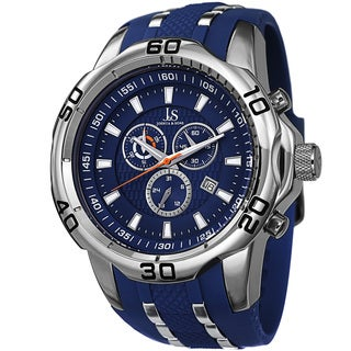 Joshua & Sons Men's Bold Swiss Quartz Chronograph Date Silicone Strap Watch