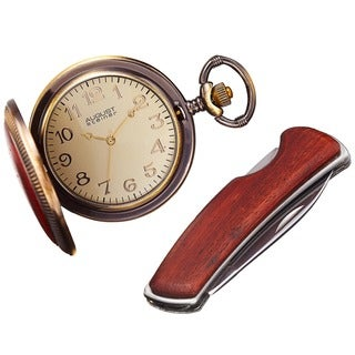 August Steiner Men's Japanese Quartz Pocket Watch & Pocket Knife