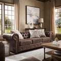 Tribecca Home Knightsbridge Brown Bonded Leather Tufted Scroll Arm Chesterfield Sofa