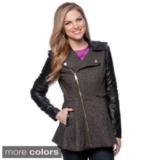 BCBG Wool Asymmetrical Faux Leather Collar Coat