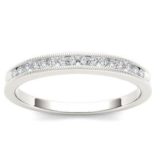 De Couer 10k White Gold 1/6ct TDW Diamond Milgrain Wedding Band (H-I, I2)