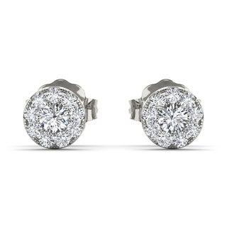 De Couer 10k White Gold 1/3ct Diamond Halo Stud Earrings (H-I, I2)