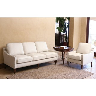 ABBYSON LIVING Monica Pedersen Ivory Top Grain Leather Nailhead Sofa and Armchair