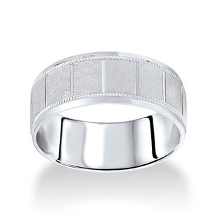 14k White Gold Men's 8 mm Satin Finish Milgrain Wedding Band