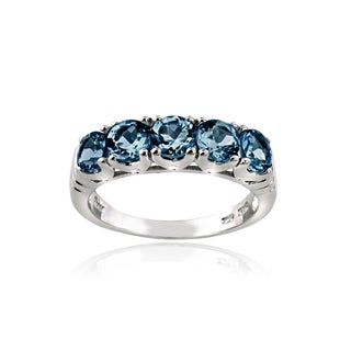 Glitzy Rocks Sterling Silver 5-stone London Blue Topaz Eternity Ring
