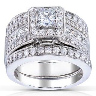 Annello 14k White Gold 1 4/5ct TDW Princess-cut Halo Diamond 3-piece Bridal Set (H-I, I1-I2)