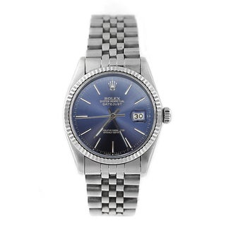 Pre-Owned Rolex Men's Datejust 16014 Stainless Steel Blue Stick Watch