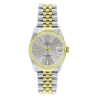 Pre-Owned Rolex Men's Datejust 16013 Two-tone Silver Stick Watch