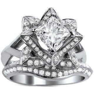 Noori 14k White Gold 2ct TDW Princess-cut Certified Diamond Lotus Flower Bridal Ring Set (G-H, SI1-SI2)