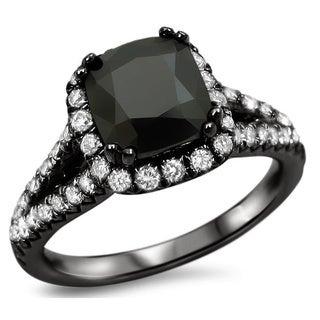 Noori 18k Black Gold 2 1/6ct Black Cushion-cut Diamond Ring