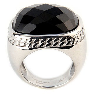 Black Oval Agate Ring