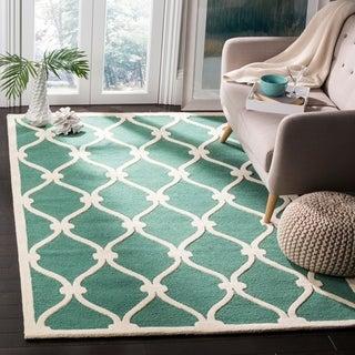 Safavieh Handmade Cambridge Teal/ Ivory Wool Rug (9' x 12')
