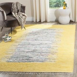 Safavieh Hand-woven Montauk Ivory/ Yellow Cotton Rug (9' x 12')