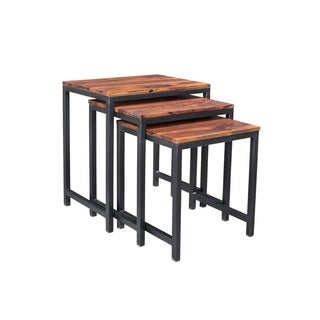 Timbergirl Reclaimed Seesham Wood and Iron 3-piece Nesting Table Set (India)