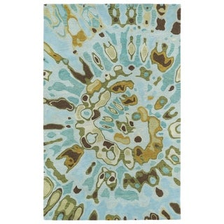 Hand-tufted Artworks Teal Tie-dye Rug (5' x 7'9)