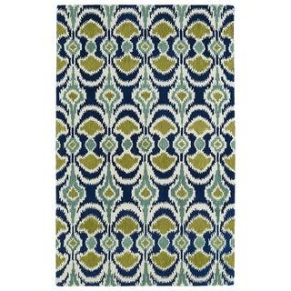 Hand-tufted de Leon Ikat Navy Wool Rug (9' x 12')