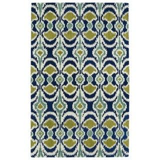 Hand-tufted de Leon Ikat Navy Wool Area Rug (5' x 7'9)