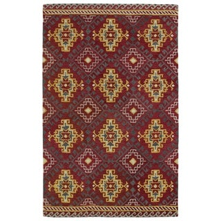 Hand-tufted de Leon Tribal Red Rug (5' x 7'9)