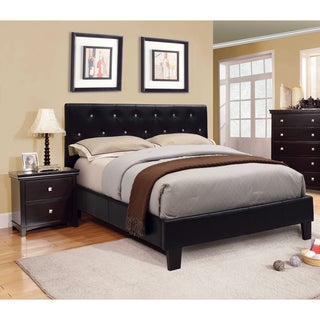 Furniture of America Mircella Black 3-Piece Bed, Nightstand and Medium Soft Mattress Set