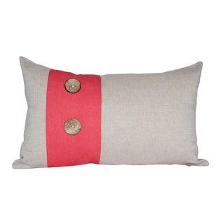 Red Panel Wood Button Cotton Lumbar Throw Pillow