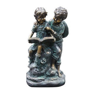 Girl and Boy Reading Together Statue