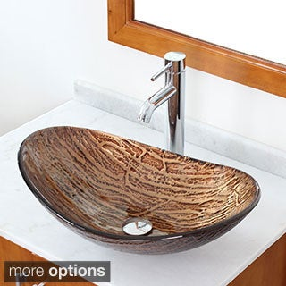 Elite Tempered Glass Vessel Sink Hot Melt Multicolor Pattern With Faucet Combo