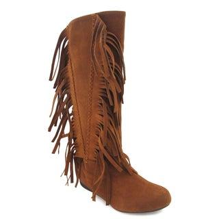 Olivia Miller Women's 'Dakota' Cognac Moccasin Boots