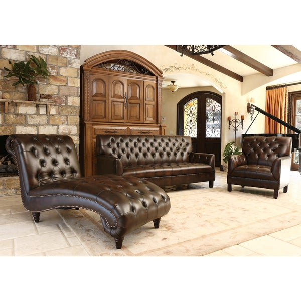 Abbyson Living Alessio 3 Piece Leather Sofa Chair And Chaise Set Overstock Shopping Great