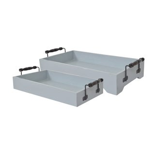 Grey Wood Tray with Handles