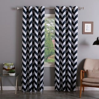 Chevron Print Room Darkening Grommet Top 96-inch Curtain Panel Pair
